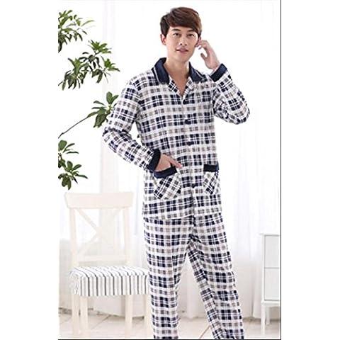Los pijamas 100% del algodón de los hombres fijaron resorte y la ropa de noche de la tela escocesa de los hombres de la solapa de largo - envuelta del otoño , a , l