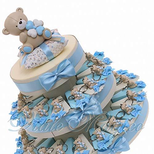 Bomboniera nascita battesimo primo compleanno torta con tenerorsi celeste portachiavi bimbo 90 pz