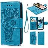 iPhone 6/iPhone 6s Hülle Leder Flip Wallet Cover in Book Style Stand Case Card Slot Leder Tasche Case Karteneinschub TPU Innen 2 Combo Separate Karteneinschub und Magnetverschluß Kratzfestes und Schmutzunempfindliches in Blau Elefant für iPhone 6/iPhone 6s(2 in 1)