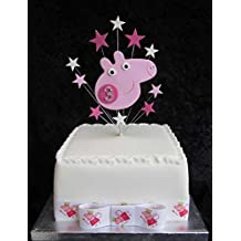 3rd Birthday cake topper Peppa Pig con diamante Age adatto per una piccola torta Plus 1 x Metro 25 mm Peppa Pig grosgrain con fiocco