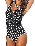 Wantoby Plus Size Sexy Bikini Damen Push up Bikini Damen Bandeau sexy Bademode Badeanzug Schwimmanzug Sport Tankini Push up Top Swimwear Punket UK18/DE44/US XL