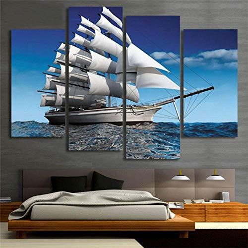 WOKCL Leinwanddruck Moderne Ozean-Segelschiff-Segeltuch-Malerei gedruckt auf Leinwand-Wand-Bildern für Inneneinrichtung