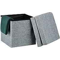 Preisvergleich für Relaxdays Faltbarer Sitzhocker mit Lehne HBT 73 x 38 x 38 cm stabiler Sitzcube mit praktischer Fußablage als Sitzwürfel und Sitzbank Leinen als Aufbewahrungsbox und Deckel zum Abnehmen, grau