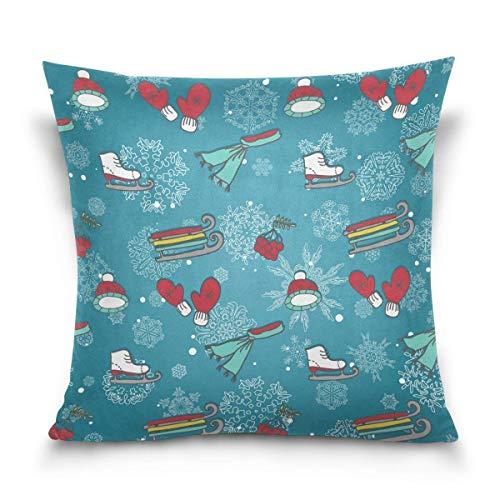 Klotr federe cuscino divano, skates sleds mittens winter sports items decorative square throw pillow covers home decor cushion case for sofa bedroom car 18 x 18 inch 45 x 45 cm