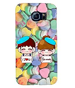Fuson Heart Pattern Couple Back Case Cover for SAMSUNG GALAXY S6 - D3984