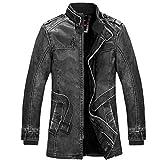 Herren Thermische Lederjacke Winterjacke Mode Männer Herbst Winter warme Freizeit Langarm Pocket Button Dicke Plus SAMT Hochwertig Jacke Coat (XL, Schwarz)