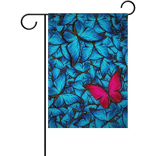 HujuTM Hipster Beautiful Butterfly Polyester Garden Flag House Banner 12 x 18 inch, Two Sided Welcome Yard Decoration Flag for Wedding Party Home Decor