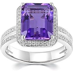 18quilates 750oro blanco corte Esmeralda morado Amatista con Diamond Promesa Compromiso Boda Anillo de Halo (4,86+ 0,4quilates, G-H Color, VS2-SI1claridad) regalo mujeres joyas