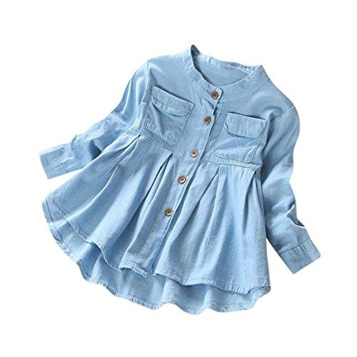 Blau Gestreifte Tote (Kinderbekleidung Jeanshemd Frühling Sommer Boyfriend Langarm Revers Jeansbluse Hirolan Kleinkind Baby Kleidung Kind Mädchen Denim Gerafft Lange Ärmel T-Shirt Oberteile Bluse (5T, Blau))