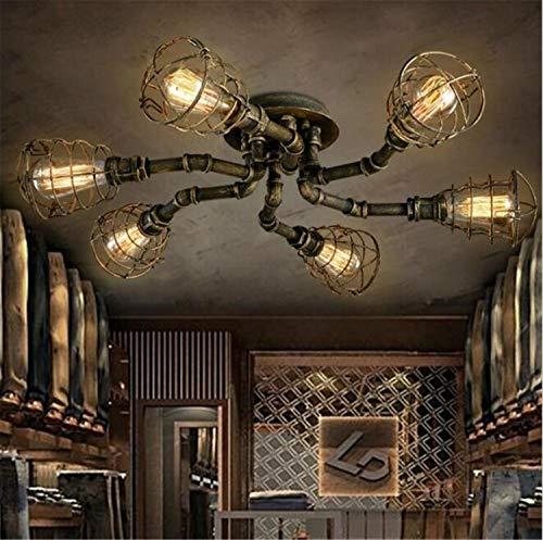 MS.REIA Deckenleuchte Retro Industrie Rohr mit 4 Sockel dekorative Beleuchtung Home Decoration
