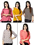 #10: 1 Stop Fashion Women's Set of 5 Combo Digital Print Heavy Crepe Ready Wear Top