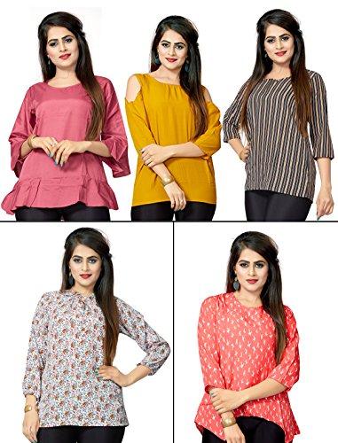 1 Stop Fashion Women's Set of 5 Combo Digital Print Heavy Crepe Ready Wear Top