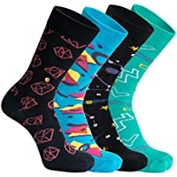 The Moja Club - Men's funky crew socks - [Pack of 4] - Designs = (Constellations + Triangles + Coral Diamond + Zig - Zag shapes Design