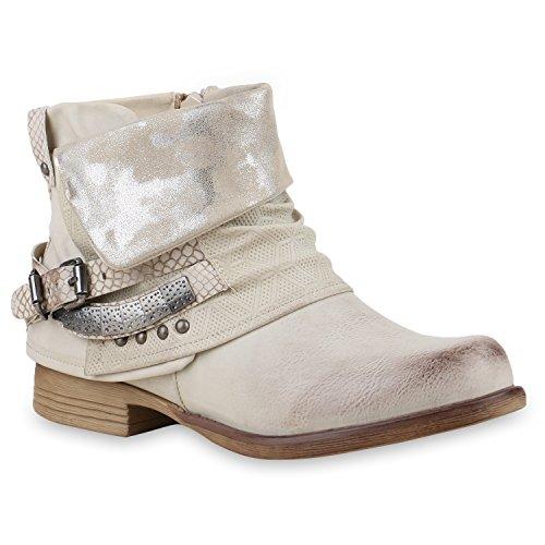 Und Mode Kostüm Blog (Damen Stiefeletten Biker Boots Nieten Lack Stiefel Schuhe 129282 Beige Schnalle 38 |)