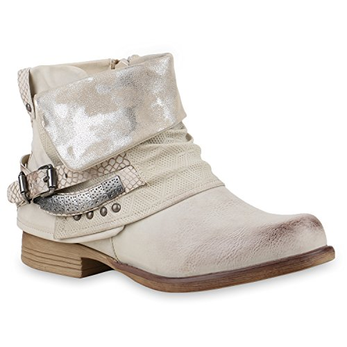 Damen Biker Boots Nieten Schnallen Stiefeletten Gr. 36-42 Schuhe 130239 Creme 39 Flandell