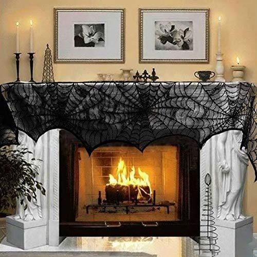 X-DAAO Schwarzer Spitze Spinnennetz Kamin Mantel Abdeckung für Home Halloween Party Decor (Halloween Erntedankfest 2019)