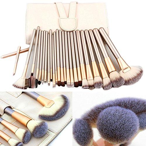 Pinceaux de maquillage professionnels E-Beshiny - Pinceaux synthétiques, Kabuki, pour fond de teint, anti-cernes, poudres, crèmes, blush - Avec trousse de voyage en cuir