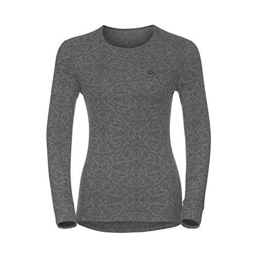 Polyester S/s Shirt (Odlo Damen Shirt l/s Crew Neck God Jul Print Unterwäsche, Castlerock Aop, S)
