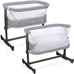 Lit cododo Baninni pour bébé - Fonction berceau - Modèle : Nesso - Hauteur et inclinaison réglables - Coloris : gris