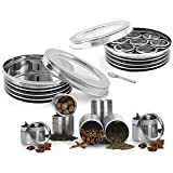 King International Stainless Steel Black See Through Spice Box With See Through Containers Set Of 9 Pieces