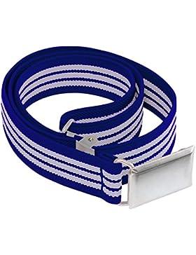 Buyless Fashion Cinturón elástico y ajustable con hebilla plateada para niños y bebés