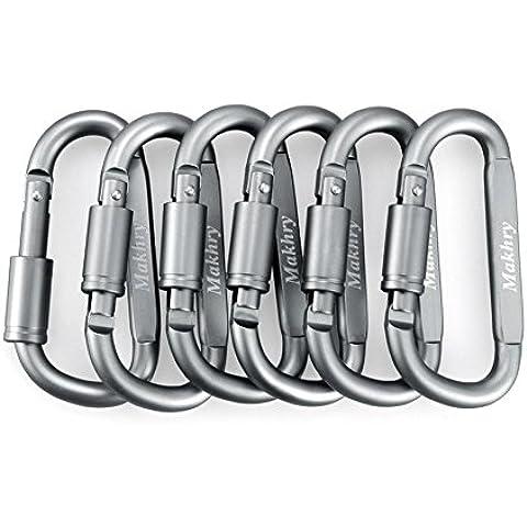 Makhry 6pcs set moschettone in alluminio Blocco Vite D-ring gancio clip di Keychain esterna con fibbia per caccia pesca pesca