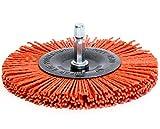 """S&R Spazzola Circolare 100 mm per Smerigliatrice e Trapano. Filo in Nylon Abrasivo per Legno e Metallo. Codolo esagonale 1/4"""" (6,35 mm)"""
