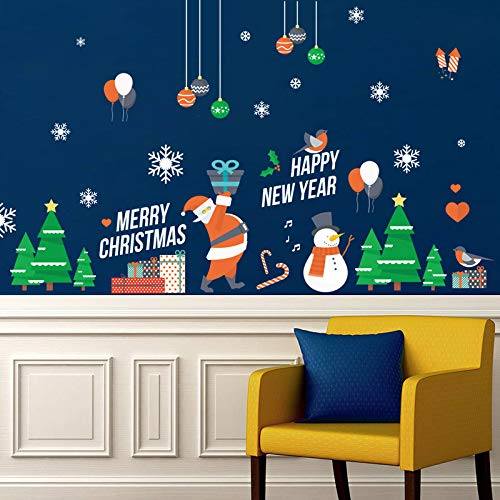 Frohe Weihnachten/Happy New Year Wandaufkleber Festival Glasfenster Hintergrund Für Hauptdekoration Wandtattoos Tapetenaufkleber