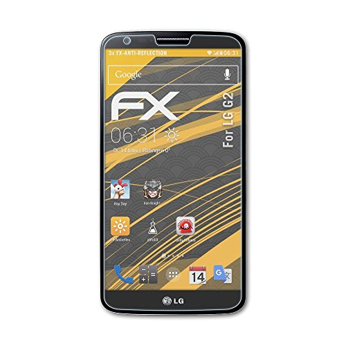 atFolix Panzerfolie kompatibel mit LG G2 Schutzfolie, entspiegelnde & stoßdämpfende FX Folie (3X)