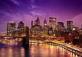 Fototapete New York bei Nacht 400cm Breit x 280cm Hoch Vlies Tapete Wandtapete Vliestapete Effekt Stoß auf Stoß - Modern Wanddeko, Wandbild, Fotogeschenke, Wand, Wandtapete, Dekoration, Wohnung