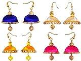 RK City Shopping Combo Of 4 Yellow Light Sandal Blue Pink Small Size Silk Thread Jhumki Earrings For Women