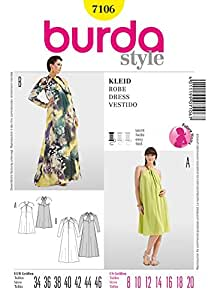 Patron de couture Burda Mesdames facile 7106–Dos Nu robes Tailles: 8–20