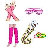 ResPai 80er Party Kleid Zubehör Set Hot Pink Fischnetz Handschuhe Beinwärmer Blitz Neon Fluoreszierende Perlen Armbänder Halsketten Perlenkette Kunststoff Brille Mädchen Frauen Night Out Party Kostüm