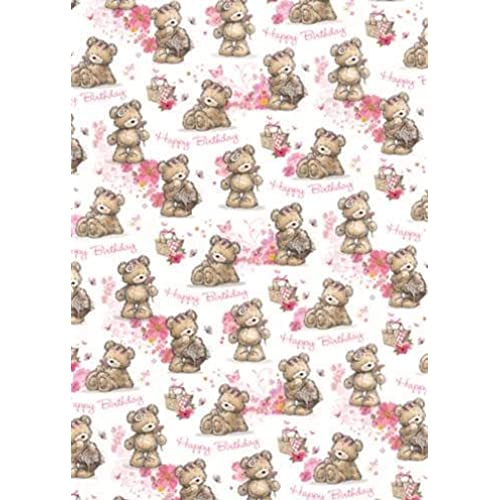 Flower wrapping paper amazon 2 sheets cute female birthday wrapping paper 1 gift tag picnic bear flower mightylinksfo