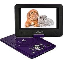 """ieGeek 9.5"""" reproductor de DVD portátil, 5 horas de batería incorporada, SD y USB compatible, con cargador de coche y dispositivo de juego, de alta resolución TFT LCD en color de pantalla, púrpura"""