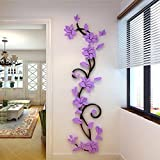 Xshuai DIY 3D Acryl Kristall Blume Wandaufkleber Wohnzimmer Schlafzimmer TV Hintergrund Home Dekore (Lila)