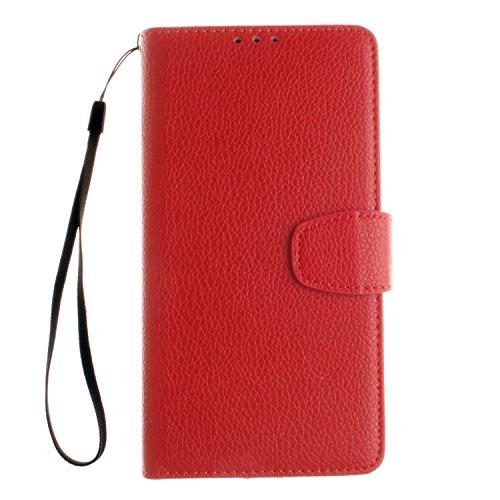 PU Leder rot Schutzhülle für LG V10 case Wallet Schale Tasche Magnet Silikon Back Cover Etui Skin Shell Purse Handyhülle Standfunktion Kredit Kartenfächer Folio Bookstyle mit Weich TPU Innere