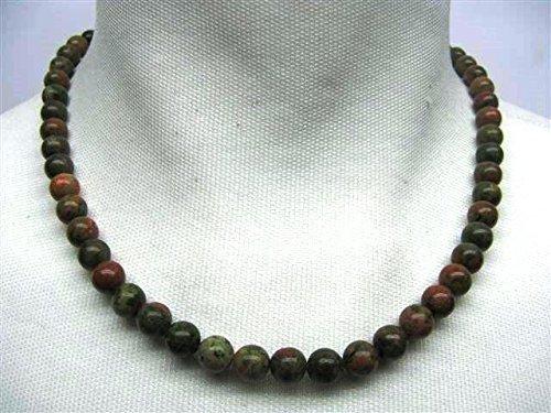 natural mente–Mujer, collar, cadena de bolas, Unakita, piedra natural, piedras preciosas, Bola Tamaño 8Mm, Longitud 45cm, piedra, curativas Esoterismo, Unakita
