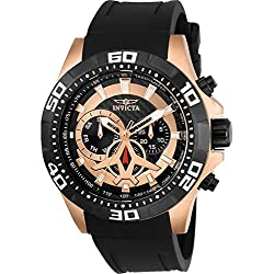 Invicta Men's Aviator 48mm Black Polyurethane Band Steel Case Flame-Fusion Crystal Quartz Watch 21740