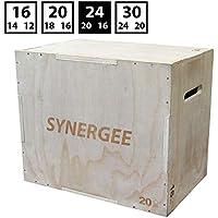 Caja de madera pilométrica de Synergee 3 en 1 para saltar, entrenar y ponerse en forma. Caja pilométrica de madera todo en uno entrenador de saltos. Tamaño - 24/20/16