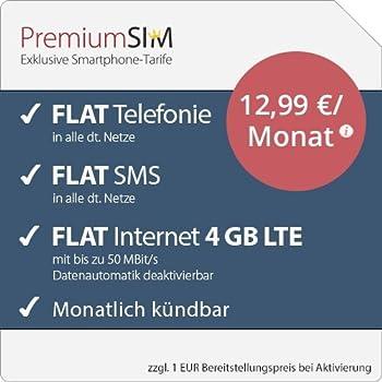 PremiumSIM LTE M Allnet Flat [SIM, Micro-SIM und Nano-SIM] monatlich kündbar (FLAT Internet 4 GB LTE mit max. 50 MBit/s mit deaktivierbarer Datenautomatik, FLAT Telefonie, FLAT SMS und FLAT Europa, 12,99 Euro/Monat)