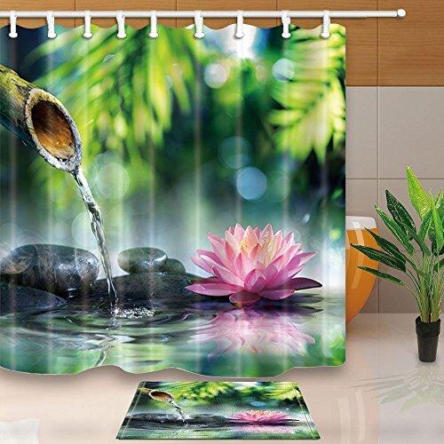 Gohebe meditazione zen spa natura e fiori di loto decorazione feng shui pietra con bamboo ,71x, resistente alla muffa tenda per doccia in tessuto tuta con 15.7x 23.6in flanella antiscivolo pavimento zerbino tappeto da bagno