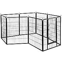 Yaheetech 8 Panel Metal Dog Pen Puppy Playpen Pet Rabbit Exercise Fence Cat Enclosure Cage 100cm High