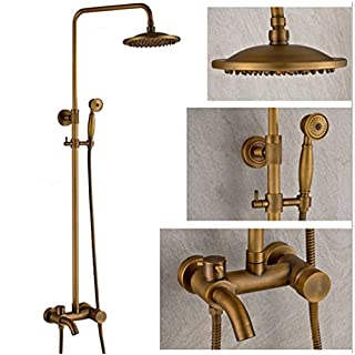 AMSS Nostalgia Retro Shower Mixer Single Lever Antique Brass Complete with Tap and Shower Head Shower Head Complete Shower System Type A