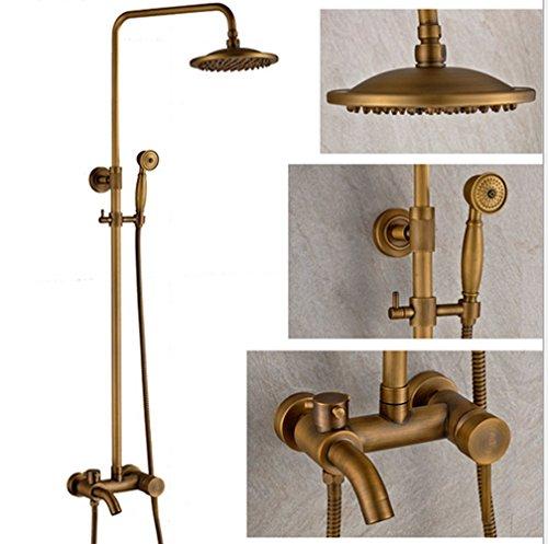 Bellabrunnen Nostalgie Retro Duschset Komplett Dusche Armatur Regenschauer Handbrause Stange Antik Messing, Type A