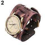 osmanthusFrag Quartz Analog Wristband Men Bracelet Wrist Watch Vintage Faux Leather Brown