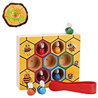 Meiyaa Toddler Colorful Wooden Beehive Box Practice Balance Skills Toy Kids Wooden Toys Early Educational Toy for Preschool Baby