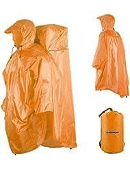 Overmont poncho imperméable raincoat en polyester avec protection de sac à dos pour randonnées, vélo, pique-nique et camping etc.