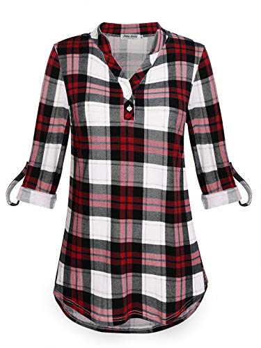 Anna Smith Camisas Henley para Mujer Moda 2018 Túnica de Franela a Cuadros Blusas Manga 3/4 Top a Cuadros Tamaño Extra Suave Suave Ligero Dos Botines Camiseta geométrica para el Trabajo XL