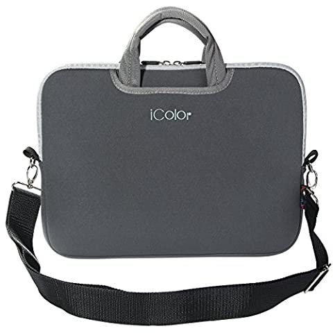 iColor Grau Netbook- und Macbook Tasche Notebooktasche Laptoptasche Schutzhülle für Größe 16,5 17 17,3 Zoll mit Zubehörfach und Schultergurt DEISH17-Gray